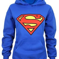 Blue Hooded Long Sleeve Superman Logo Hoodie