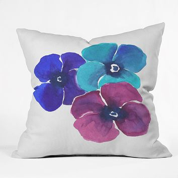 Laura Trevey Jewel Tone Pansies Throw Pillow