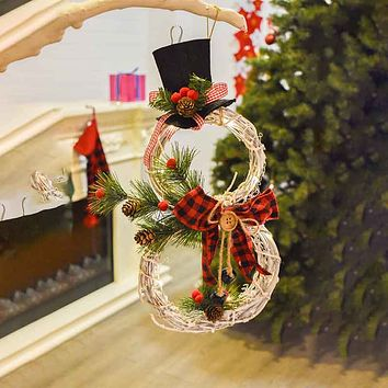 2020 Christmas New Products Home Decoration Christmas Wreath Pendant LED Lights Wreath Pendant Christmas Vine Ring