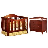 AFG International Furniture Athena Allie Convertible Crib with Toddler Rail and Grace I Changing Table in Cherry - 4588C / 3358C