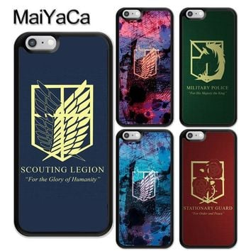 Cool Attack on Titan MaiYaCa  Symbol Logo Pattern Soft Rubber Phone Cases For iPhone 6 6S Plus 7 8Plus X 5 5S SE Cover Bags Skin Shell AT_90_11