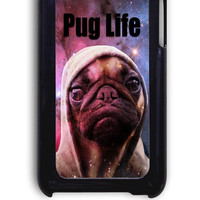 IPod 4 Case - Hard (PC) Cover with Funny Pug Life On Galaxy Plastic Case Design