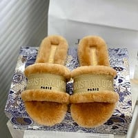 Dior autumn and winter new women's suede plush slippers