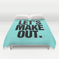 Let's Make Out Aqua Blue Duvet Cover by RexLambo | Society6