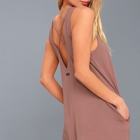RVCA Tempted Mauve Sleeveless Swing Dress