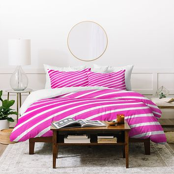 Rebecca Allen Pretty In Stripes Pink Duvet Cover