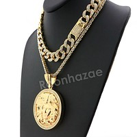Hip Hop Quavo MEDUSA Miami Cuban Choker Tennis Chain Necklace L10