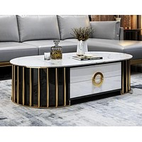 Exclusive Designed Stainless Steel Marble Top Coffee Table