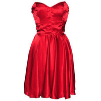 Style Icon's Closet 50s style Vintage Inspired Pin-Up African Print Retro Rockabilly Clothing — FREE PETTICOAT WITH THIS DRESS - Red 50s Style Strapless Dress