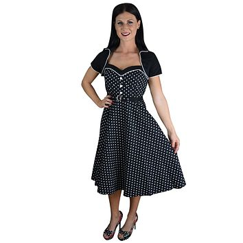 60's Vintagge Black and White Polka Dot Flare Two Tone Dress with Bolero Jacket
