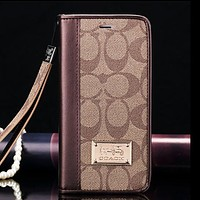 COACH New fashion pattern print couple leather protective case phone case wallet