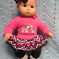 """AMERICAN girl Bitty Baby Clothes """"Mommy and Me Zebras"""" (15 inch) doll outfit  dress, leggings, booties socks, and headband pink black  F2"""