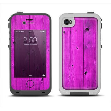 The Purple Highlighted Wooden Planks Apple iPhone 4-4s LifeProof Fre Case Skin Set