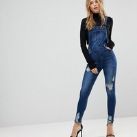 Urban Bliss Skinny Overall with Distressing at asos.com