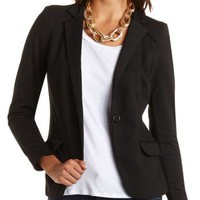 Long Sleeve Single Button Blazer by Charlotte Russe - Black