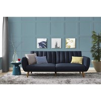 Mid Century Blue Linen Novogratz Brittany Futon | Overstock.com Shopping - The Best Deals on Futons