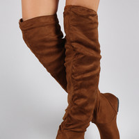 Sexy Suede Slouchy Thigh High Flat Boot