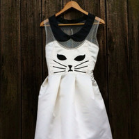 Handmade Kawaii Kitty Cat Dress- White