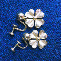 Vintage Forstner Signed Lucky Four Leaf Clover Screw Back Earrings, 12KGF Saint Patrick's Day Jewelry