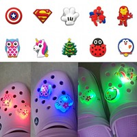 1PCS Ladybug LED PVC Shoe Charms Buckles Unicorns Light Shoes Accessories Ornaments Fit For Croc Charms JIBZ Party Gift