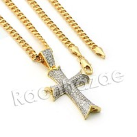 Lab diamond Micro Pave Shizzle Jesus Cross Pendant w/ Miami Cuban Chain BR019