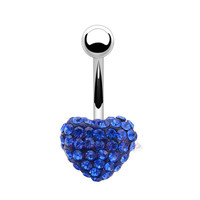Navel Piercing Body Jewelry Crystal Jeweled Surgical Stainless Steel Tunnels Belly Button Rings Heart Dangle Charm Women