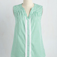 Glad-Zooks! Top in Green Gingham | Mod Retro Vintage Short Sleeve Shirts | ModCloth.com