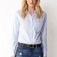 LOVE 21 Essential Striped Button-Down Blue/White Large