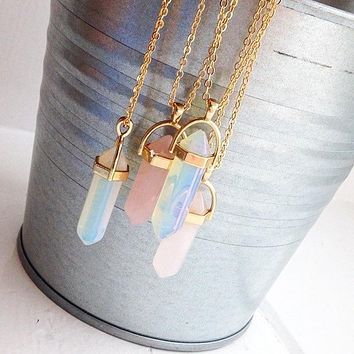 Hexagonal Column Quartz Pendant Necklace For Women
