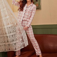 Pink Notched Collar Plaid Print Button Front Casual Nightwear Women PJ Sets Long Sleeve Pocket Side Lady Sleepwear
