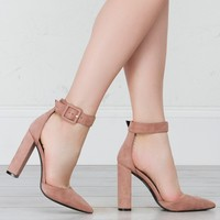Pointed Toe Suede Pump in Blush and Black