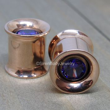 Titanium rose gold tunnel gem eyelets pair screw fit earrings purple gemstone insert pair 0g-1""