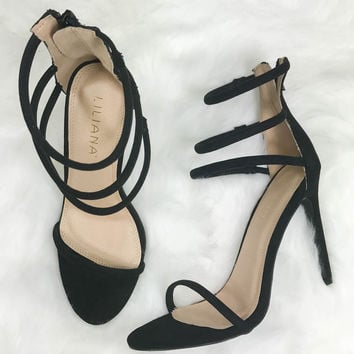 Close To You Strappy Black Heels