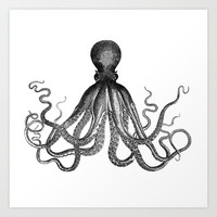 Antique Nautical Steampunk Octopus Vintage Victorian Kraken sea monster emo goth drawing Art Print by iGallery