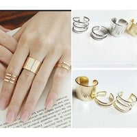 3Pcs 1Set Top Of Finger Over The Midi Tip Finger Above The Knuckle Open Ring, metal , punk , cool, women's fashion Gift 111901