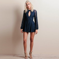 Blue Cut-out Lace Embroidered Ruffled Romper