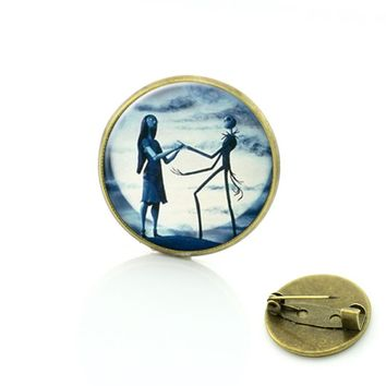 SALE Nightmare Before Christmas brooches for men and women glass dome pin Jack and Sally jewelry Vintage Dress Accessories C238
