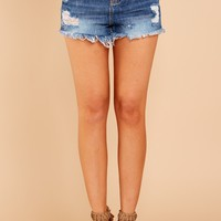 Coasting By Medium Wash Cut Off Shorts