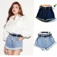 Women Hot Retro Girl High Waisted Oversize Crimping Boyfriend Jeans Shorts Pants