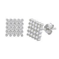 Sterling Silver Stud Earrings Square Micropave Cubic Zirconia CZ 8mm Chisel Edge