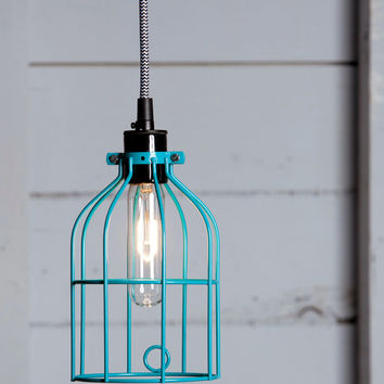 Industrial Pendant Lighting - Turquoise Blue Wire Cage Light