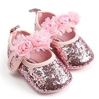 Sequins and Flowers Baby Shoes