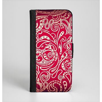 The Red Floral Paisley Pattern Ink-Fuzed Leather Folding Wallet Case for the iPhone 6/6s, 6/6s Plus, 5/5s and 5c