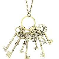 Skeleton Keys Assortment Necklace Antique Gold Tone Pendants NR30 Fashion Jewelry