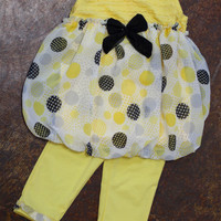 Girls Sunshine Polka Dot Outfit {Yellow}