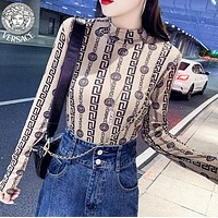 Versace Fashion New More Letter Human Head Print Long Sleeve Top