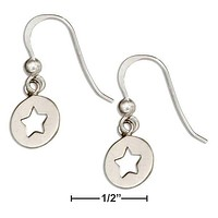 Sterling Silver Earrings:  Round Dangle Earrings With Star Cutout