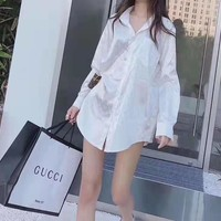 """Louis Vuitton"" Women Loose Casual Fashion Embossing Silk Letter Patch Long Sleeve Lapel Denim Shirt Cardigan Tops"