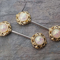 White Opal Glitter Gold Nipple Bar Jewelry Barbell