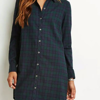 Green Plaid Long Sleeve Dress